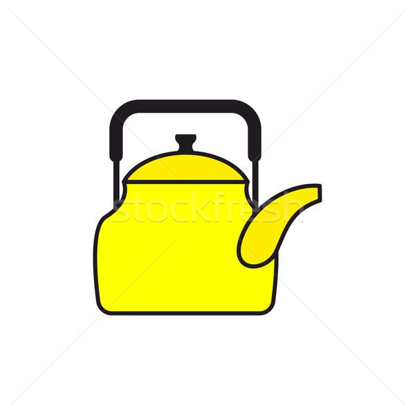 Geel theepot tafelgerei water icon keukengerei Stockfoto © popaukropa