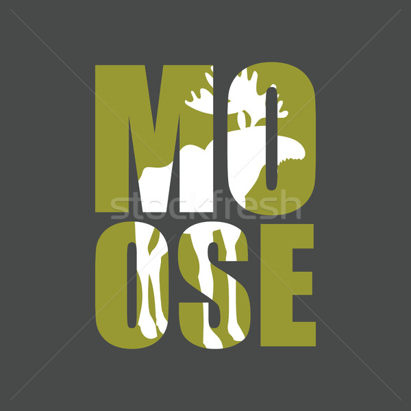 Moose. Wild animal silhouette text on a gray background. Stock photo © popaukropa