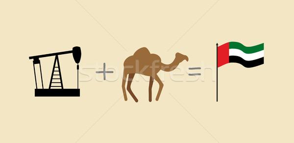 буровая верблюда Объединенные Арабские Эмираты флаг небе Сток-фото © popaukropa