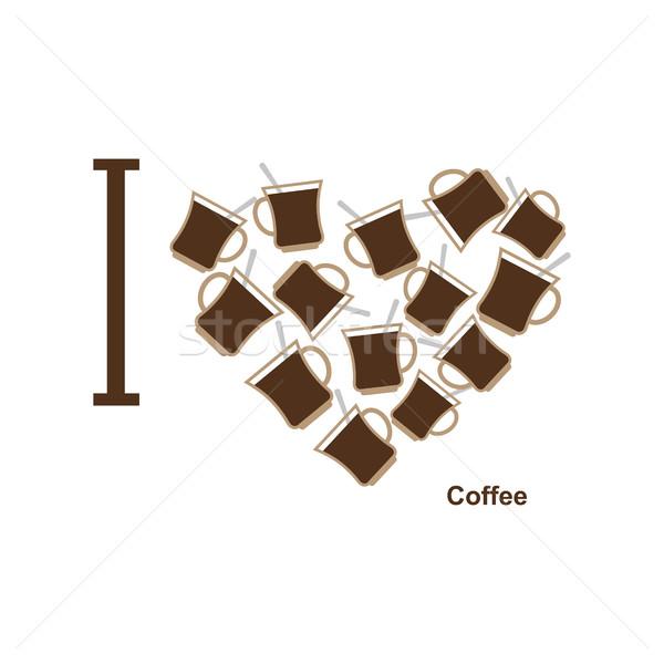 Amore caffè simbolo cuore coppe caldo Foto d'archivio © popaukropa