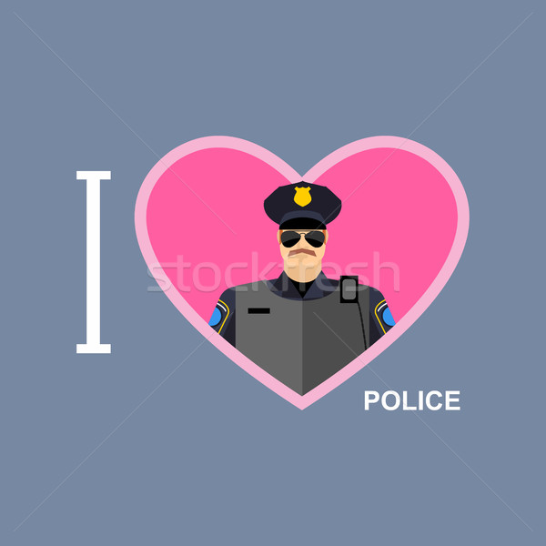 I love police. Policeman and a symbol of   heart. Vector illustr Stock photo © popaukropa