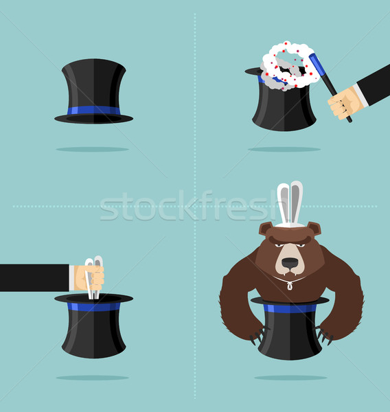 Sequence of a magic trick. Instead of rabbit out of  hat was a b Stock photo © popaukropa