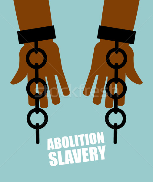 Abolition of slavery. Hands black slave with broken chains. Shat Stock photo © popaukropa