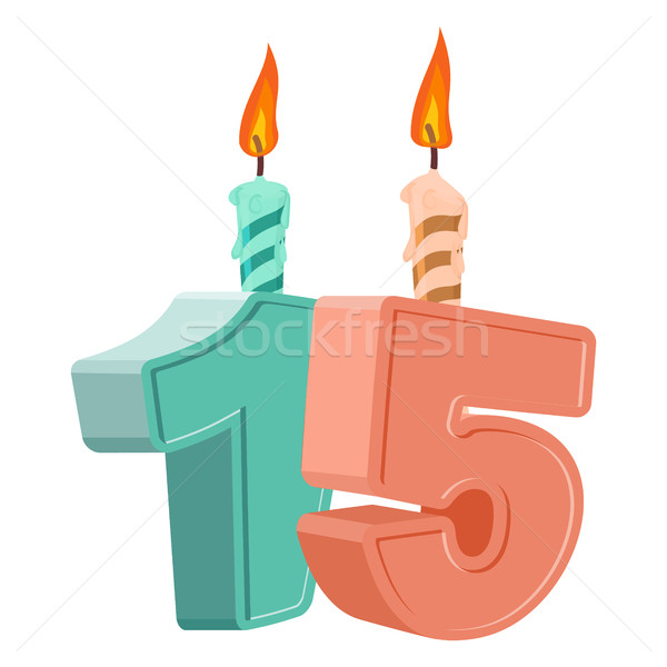 15 years birthday. Number with festive candle for holiday cake.  Stock photo © popaukropa