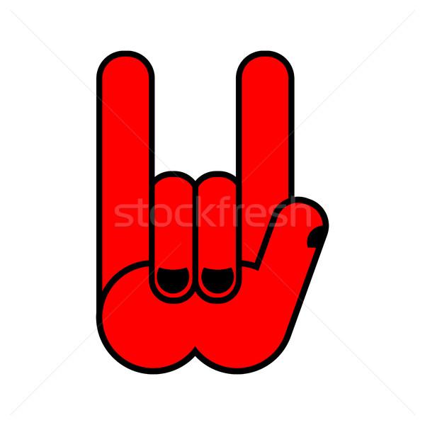 Rock hand symbool muziek rollen embleem Stockfoto © popaukropa