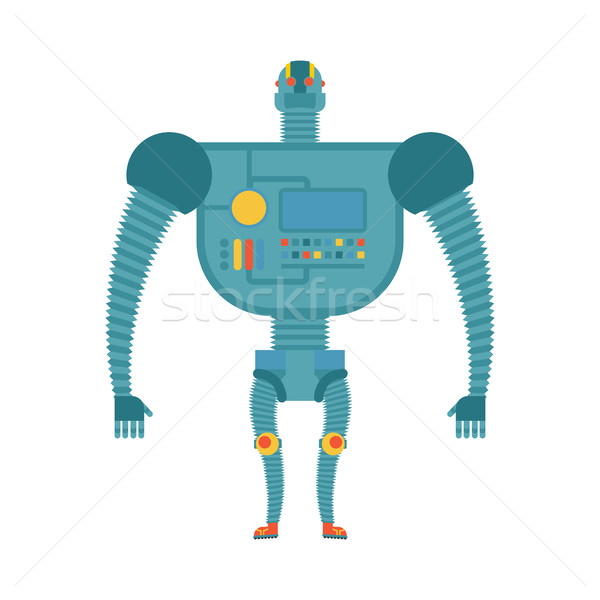 Humanoid robot. Cyborg isolated. Electronic iron man on white ba Stock photo © popaukropa