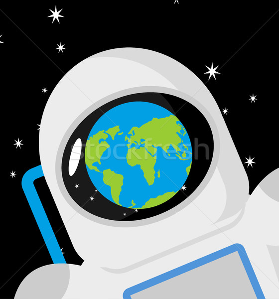 Capacete astronauta planeta terra reflexão boné Foto stock © popaukropa