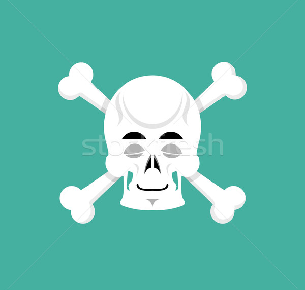 Skull and bone sleeps Emoji. skeleton head asleep emotion isolat Stock photo © popaukropa