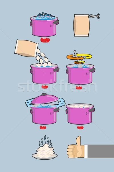 Cooking dumplings. Vector  instruction in Picture Cooking dumpli Stock photo © popaukropa