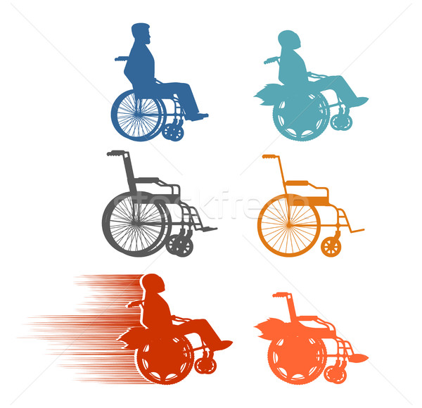 Set invalid. Collection of silhouettes of various disabilities a Stock photo © popaukropa