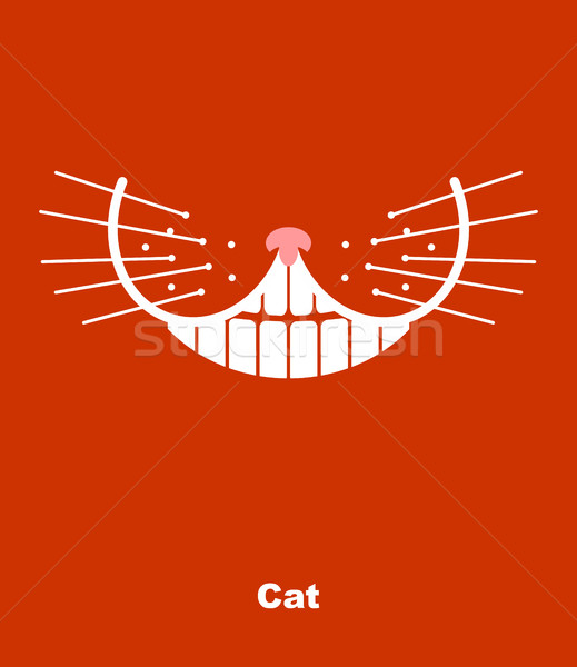 Cat smile on a red background. Vector illustration. teeth and wh Stock photo © popaukropa