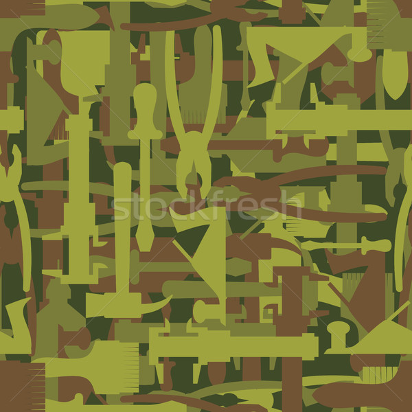 Army pattern tool. Military camouflage texture Vector of hammer, Stock photo © popaukropa