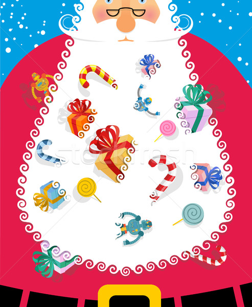 Santa Claus with big white beard. Gifts and toys for kids poking Stock photo © popaukropa