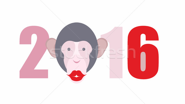 Year of  fire monkey. New year 2016. Pet kiss. Vector illustrati Stock photo © popaukropa