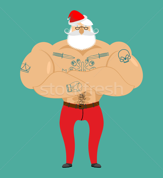 Santa Claus hipster with tattoos. Strong Santa with beard and mu Stock photo © popaukropa