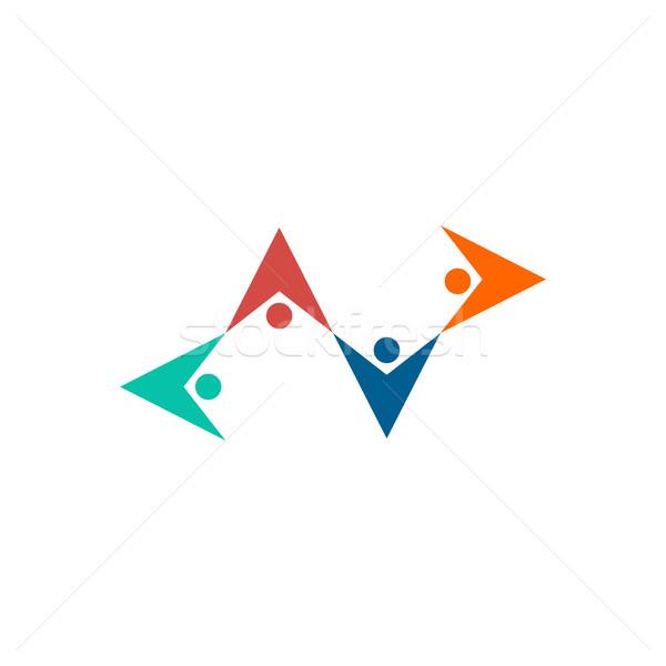 Amitié logo personnes tenir mains emblème Photo stock © popaukropa