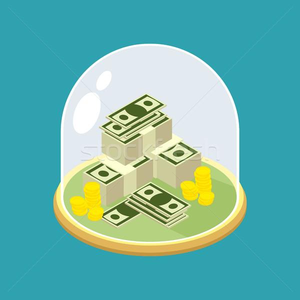 Dinero vidrio campana transparente cúpula financiar Foto stock © popaukropa