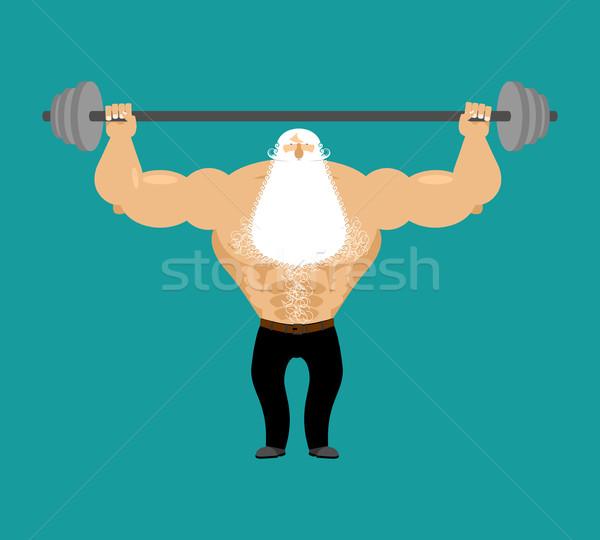 Idős férfi atléta súlyzó erős nagyapa Stock fotó © popaukropa