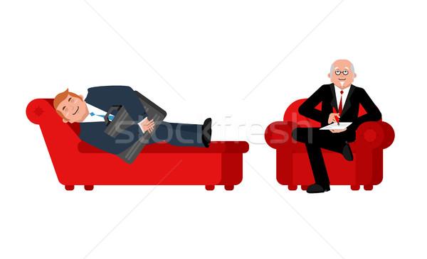 Businessman with psychologist. Consultation of psychotherapist.  Stock photo © popaukropa