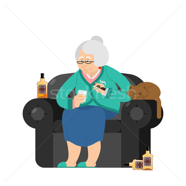 Grand-mère boissons alcool fumée cigare vieille femme Photo stock © popaukropa