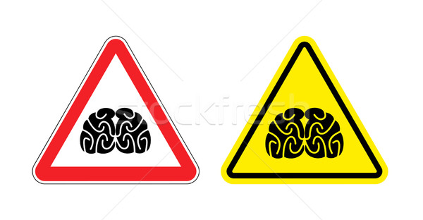 Warning sign of attention to think. Hazard yellow sign brain dra Stock photo © popaukropa