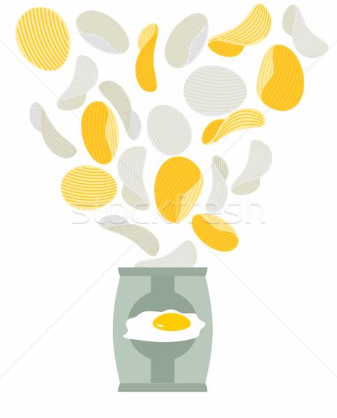 Batatas fritas gosto como ovos mexidos acondicionamento saco Foto stock © popaukropa