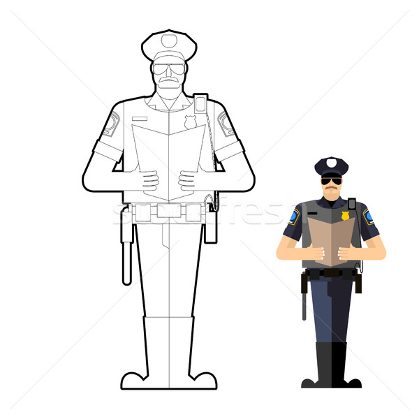 Policeman coloring book. Police officer at work. Vector illustra Stock photo © popaukropa