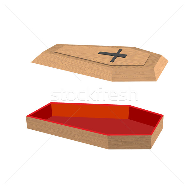 Open coffin on a white background. Lid of a coffin with a cross. Stock photo © popaukropa