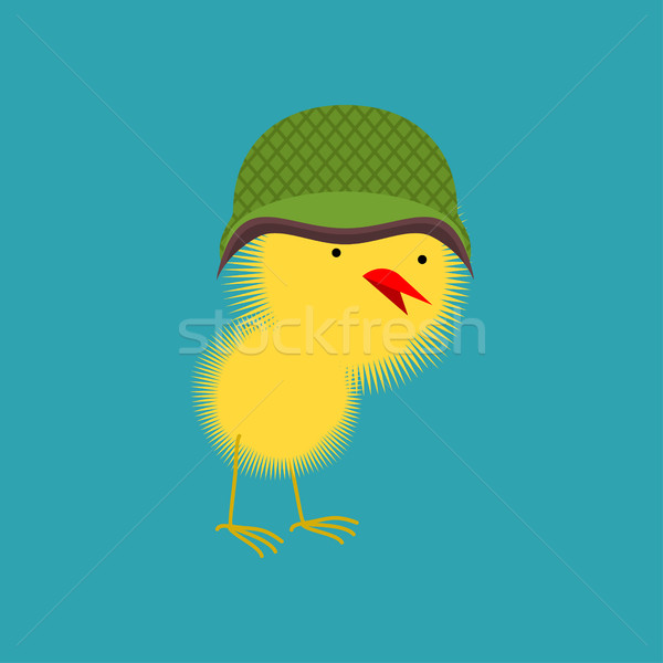 Chick in military helmet. Small Chicken. little farm yellow bird Stock photo © popaukropa