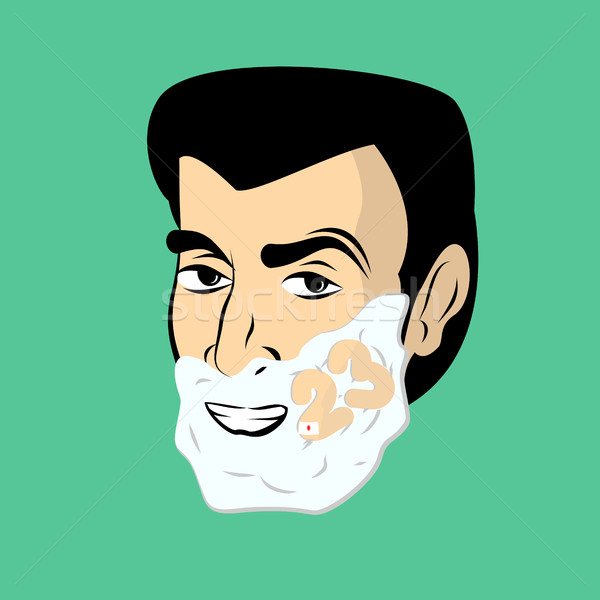 Man with shaving foam. Guy shaves. Number 23 on face. Russia Arm Stock photo © popaukropa