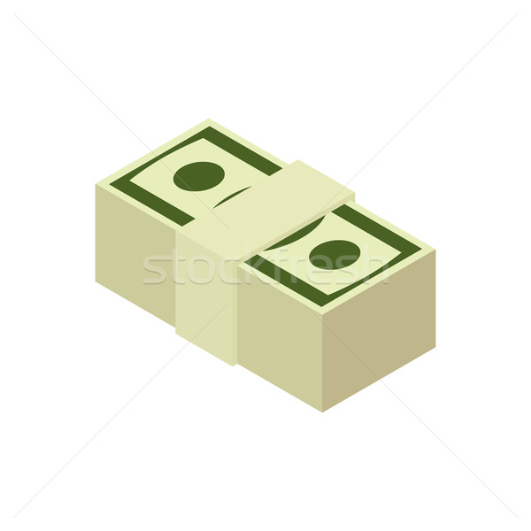 Stack of cash isolated. pile of money. pack of dollars on white  Stock photo © popaukropa