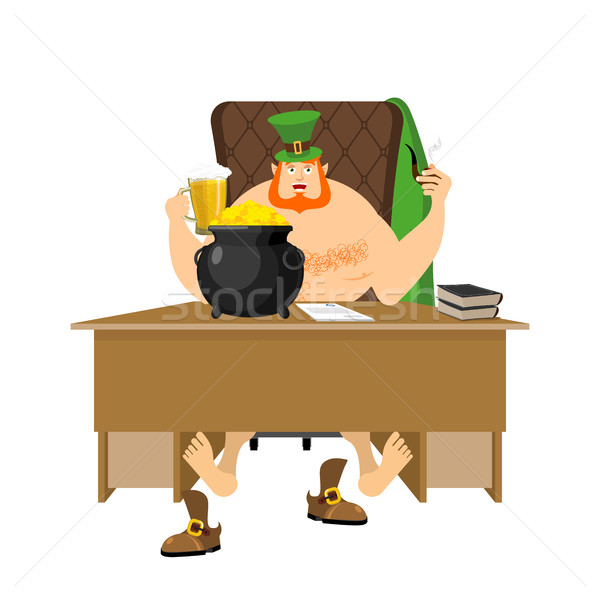 Cool Leprechaun relaxing. Mug beer and pipes. tough guy with red Stock photo © popaukropa