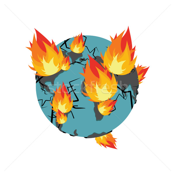 Terra fogo planeta ardente catástrofe dia do julgamento Foto stock © popaukropa