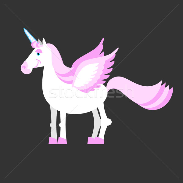 Unicorn isolated. Mythical horse with horns and wings. Fantasy b Stock photo © popaukropa