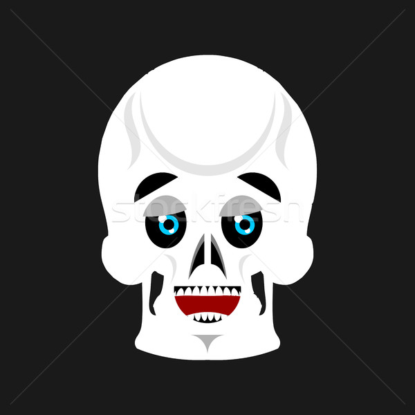 Skull happy Emoji. skeleton head marry emotion isolated Stock photo © popaukropa