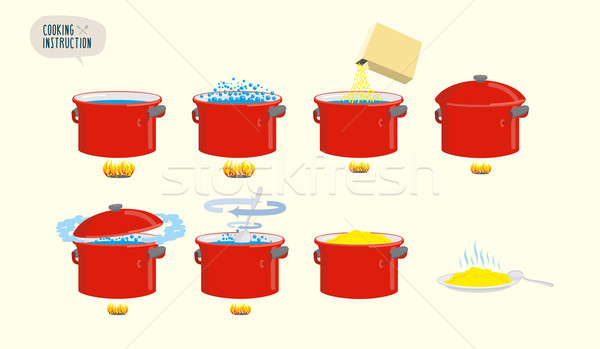 Set  icons for instruction. Infographics Cooking porridge. Stock photo © popaukropa