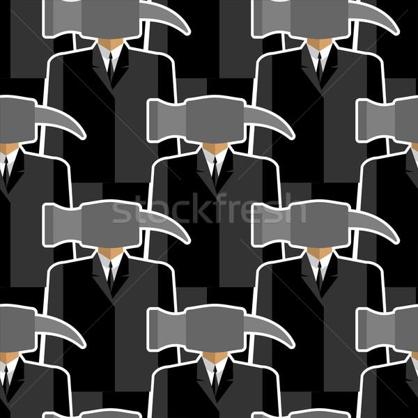 Office worker hammer seamless pattern. People-tools. Good workin Stock photo © popaukropa