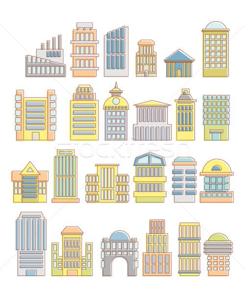 Colectie clădirilor case arhitectural obiecte urban Imagine de stoc © popaukropa