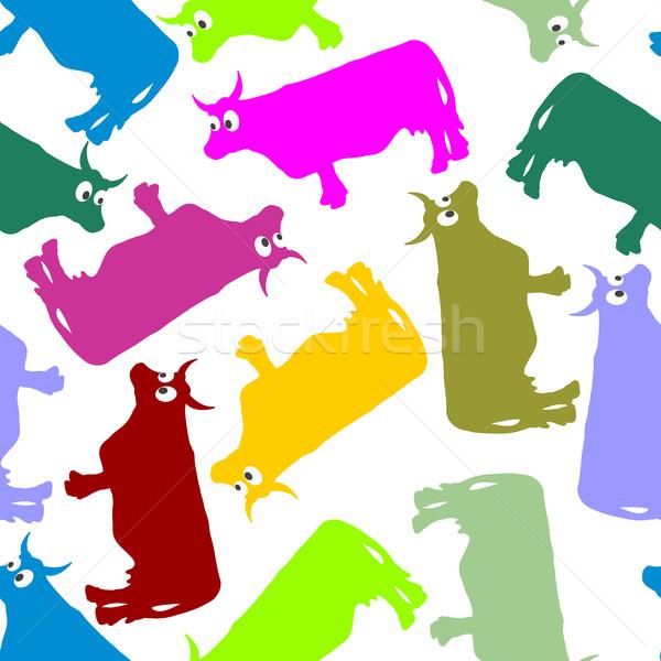 Foto d'archivio: Mucca · colore · senza · soluzione · di · continuità · ornamento · vettore · pattern