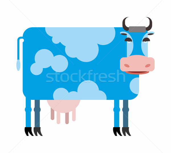 Blue cow  white background. Vector illustration of farm animals Stock photo © popaukropa