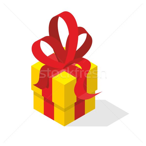 Ajándék doboz íj citromsárga doboz bürokrácia izometrikus Stock fotó © popaukropa