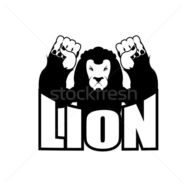 Angry lion. Aggressive wild beast. Logo big leo. Evil wild anima Stock photo © popaukropa
