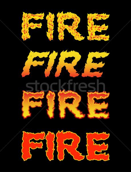 Fuego tipografía ardor cartas ardiente textura Foto stock © popaukropa