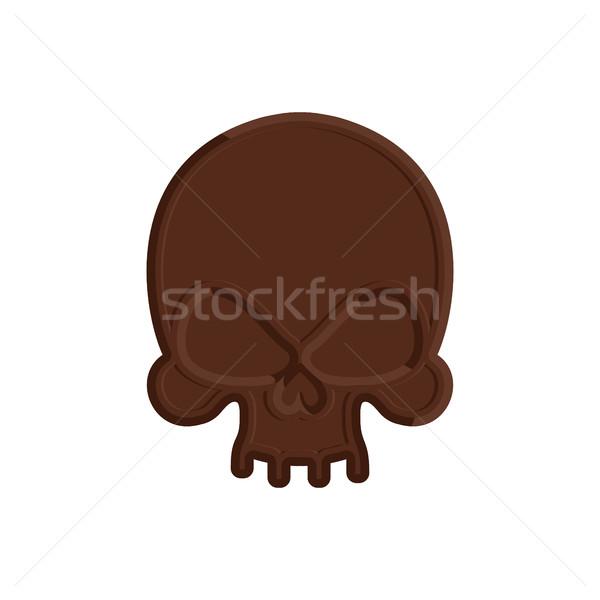 Chocolate skull. Sweet skeleton head. Scary confection for Hallo Stock photo © popaukropa