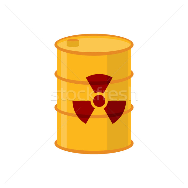 Chemical waste yellow barrel. Toxic refuse keg. Poisonous liquid Stock photo © popaukropa