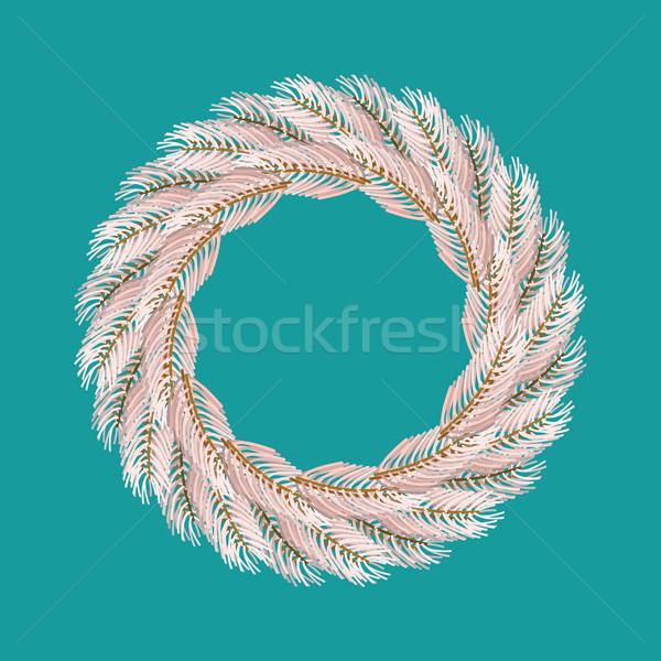 Noel çelenk beyaz yalıtılmış şube Stok fotoğraf © popaukropa