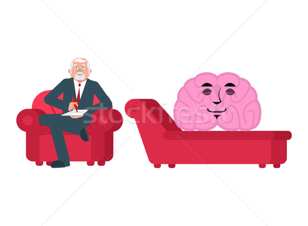 brain is at psychologist reception. Consultation of psychotherap Stock photo © popaukropa