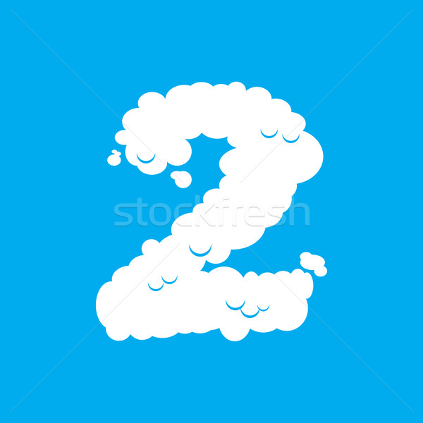 Number 2 cloud font symbol. White Alphabet sign two on blue sky Stock photo © popaukropa