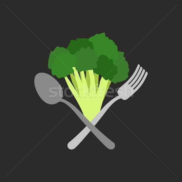 ベジタリアン ロゴ ブロッコリー フォーク スプーン ベクトル ストックフォト © popaukropa