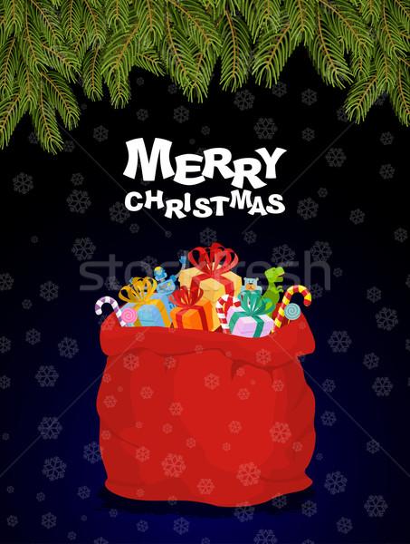 Stok fotoğraf: Neşeli · Noel · çanta · tok · hediyeler · gece